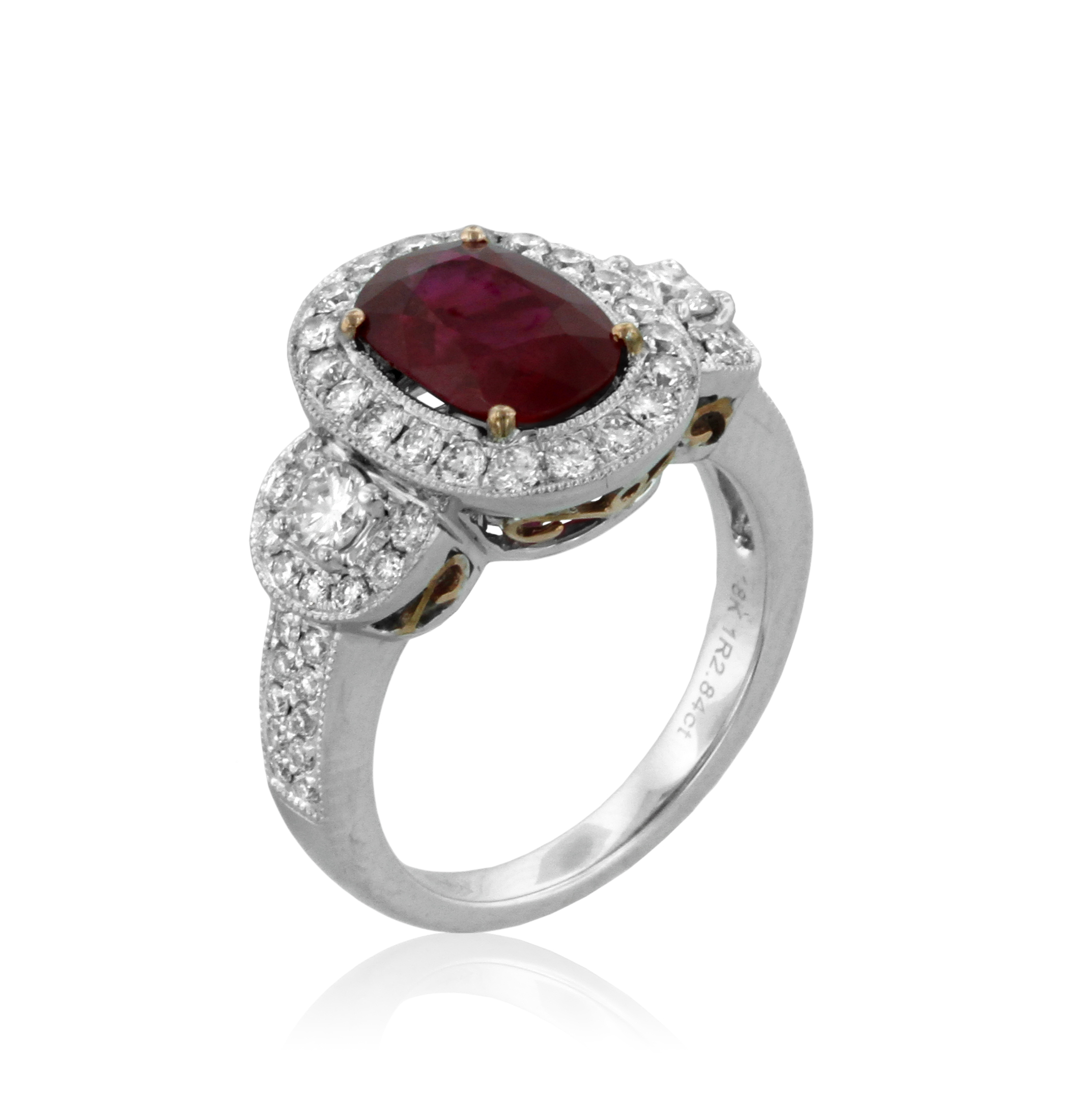 light a sapphire cognac diamond ring blue item rings white gold red