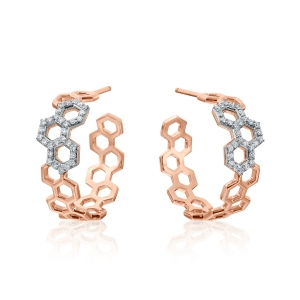 Diamond and rose gold earrings evocative of honeycombs. Pretty sweet