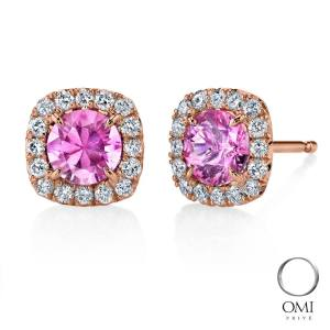 Pink sapphire and rose gold studs by Omi Prive
