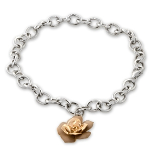 Link bracelet in 14K white gold with 14K rose gold rose charm from Ben Bridge .