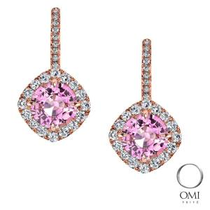 Pink sapphire and rose gold drop earrings by Omi Prive