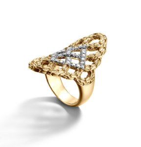 Woven braided saddle ring with diamond pave in 18K gold from John Hardy