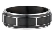 Men's Black Paneled Cobalt Chrome Wedding Ring by Ritani