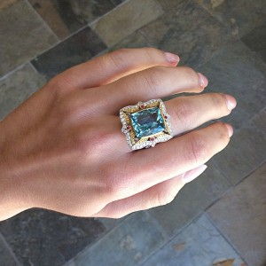 Aquamarine cocktail ring from Ricardo Basta Fine Jewelry.