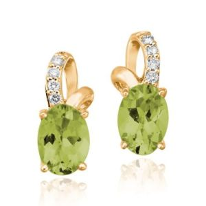 14K yellow gold, peridot and diamond earrings from Parlé Jewelry Design