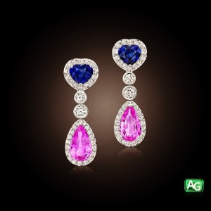 Blue and Pink Sapphire earrings from AG Gems