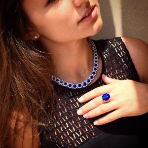 Blue Sapphire necklace and ring from Omi Privé