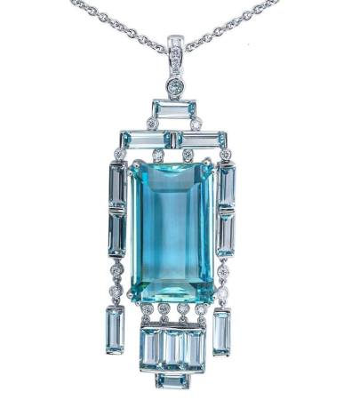 JYE-aquamarine and diamond pendant