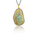 Mexican turquoise and champagne diamond pendant by Lika Behar Collection.