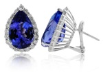 Pear shaped tanzanite earrings by United Color Gems.