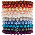 Stack of stretchy pearl bracelets by Honora.