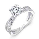 Uneek's round diamond engagement ring with peekaboo split shank.