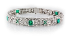 Art Deco emerald and diamond bracelet by Nash James.