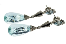 Aquamarine and Diamonds Vintage Chandelier Earrings
