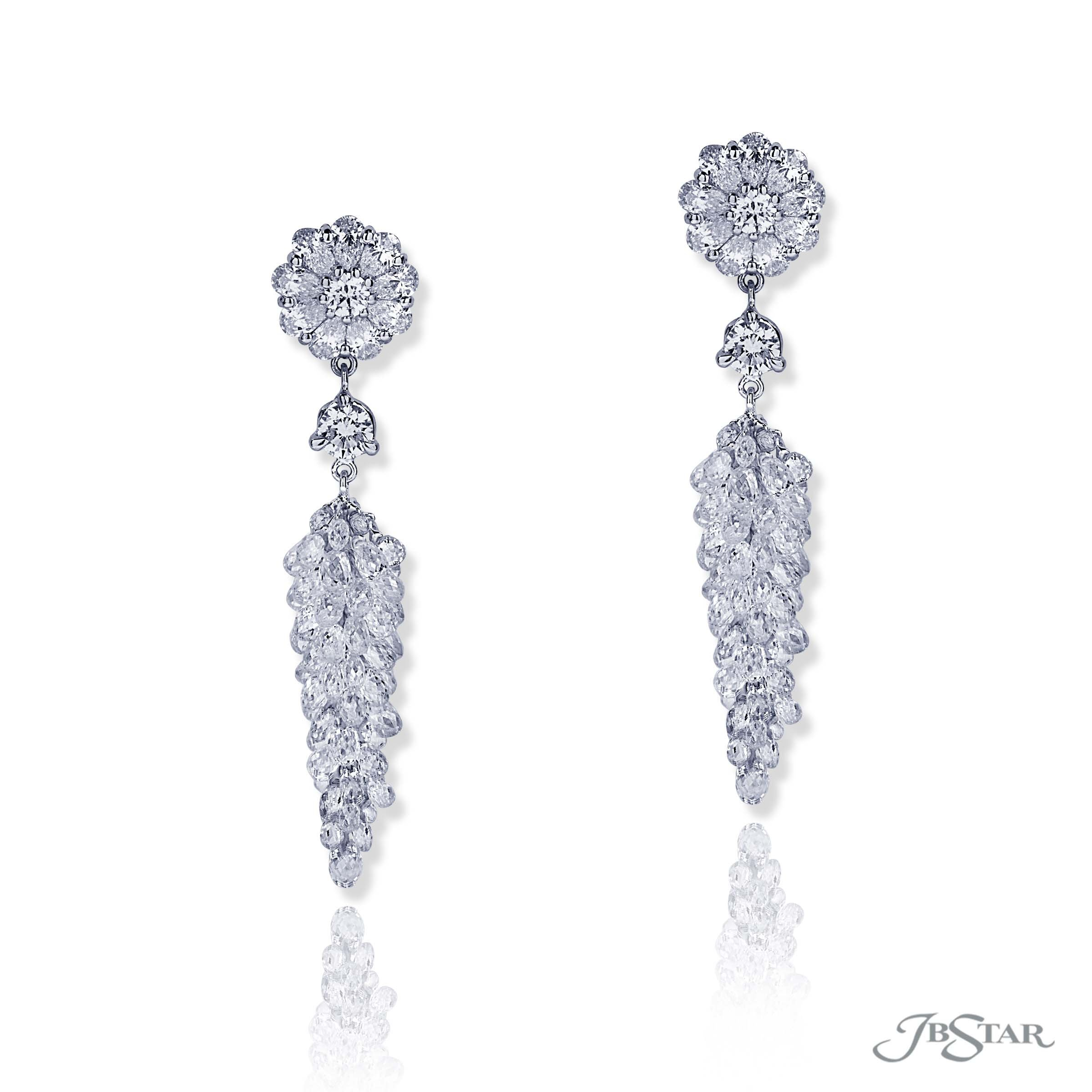 3d18c74fb Briolette diamonds dangle from two pear shape diamonds and round diamond  studs, by JB Star.